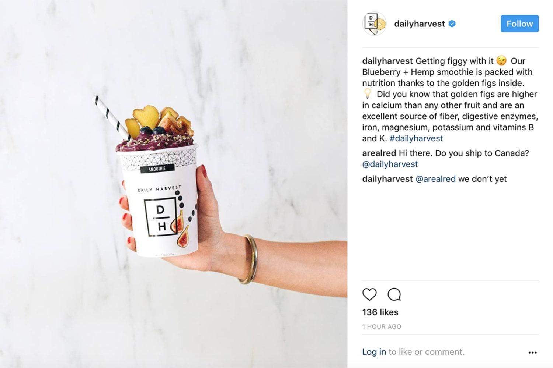 Daily Harvest Instagram smoothie WEB