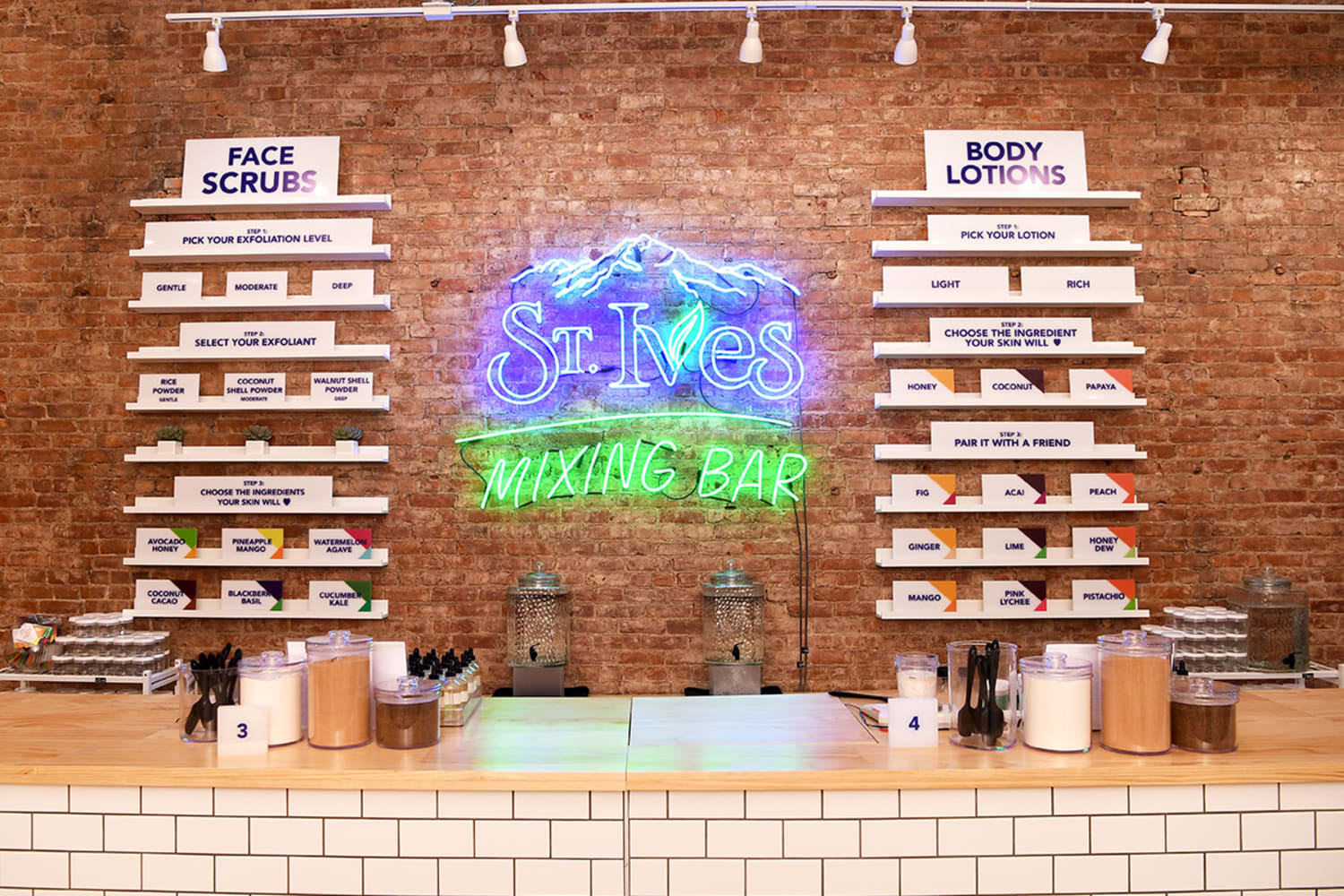 Customized Face Scrubs and Lotions at St Ives Mixing Bar summer pop up in Soho