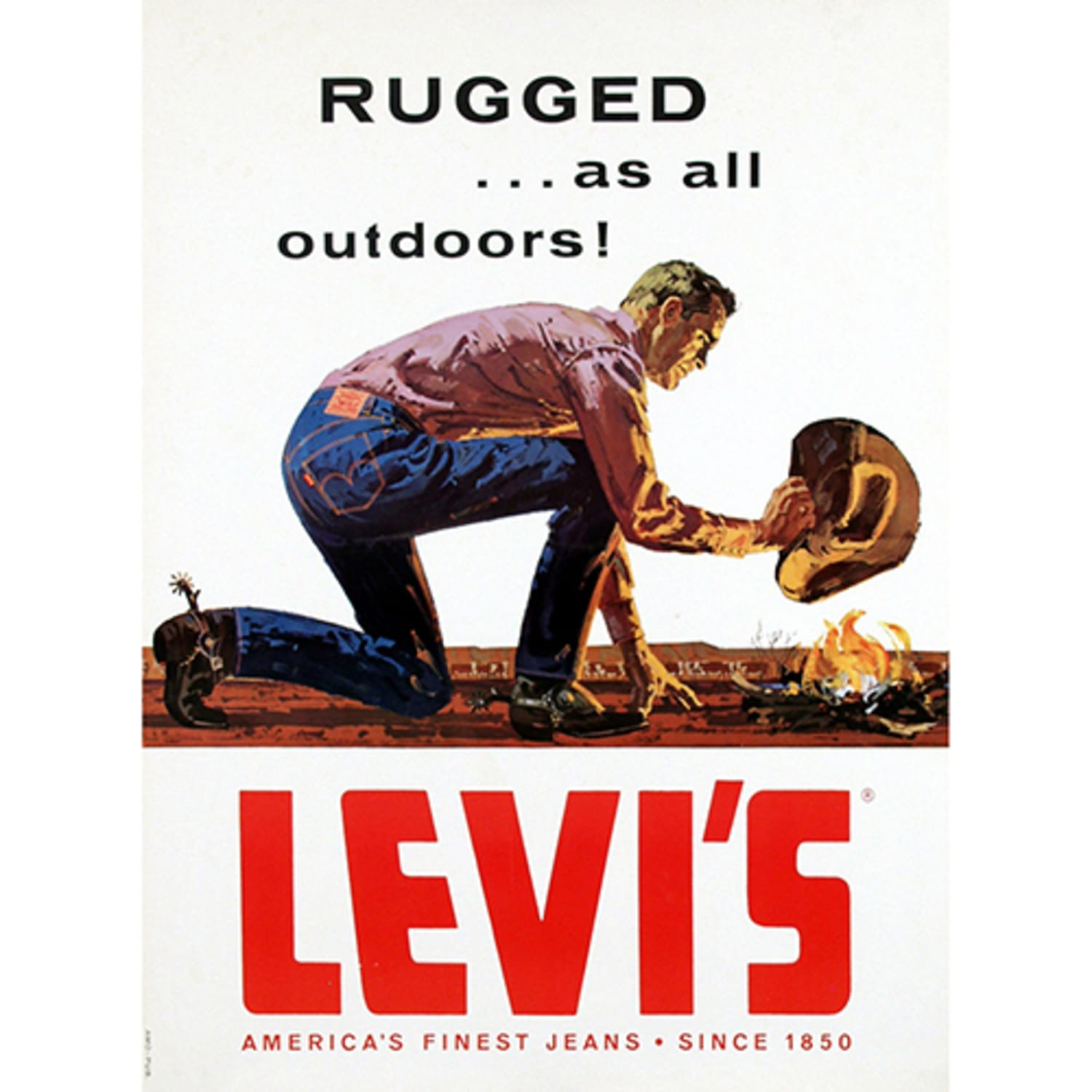 Man in cowboy hat putting out a fire in classic American ad for Levis