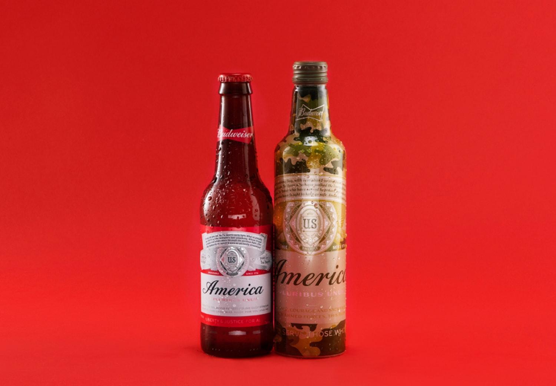 Bottles of Budweiser beer with America packaging