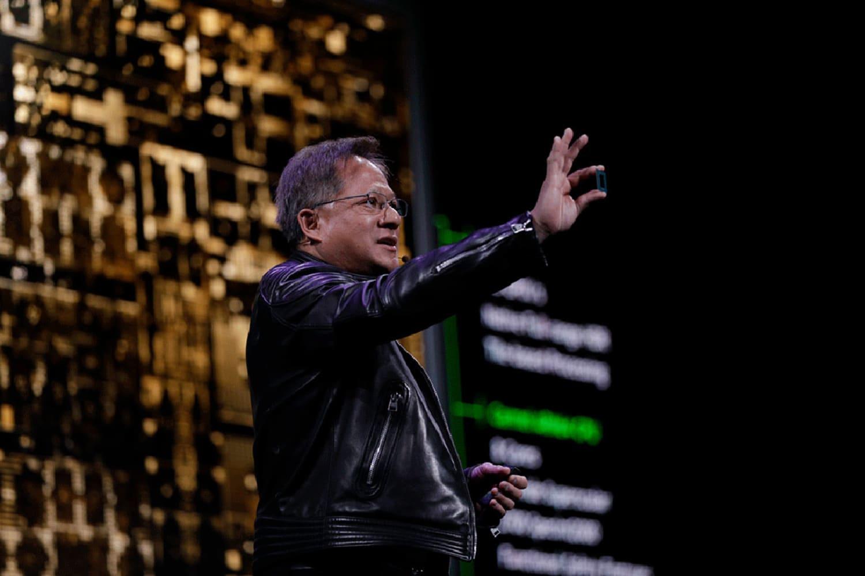 Nvidia CEO Jensen Huang gives the keynote at CES