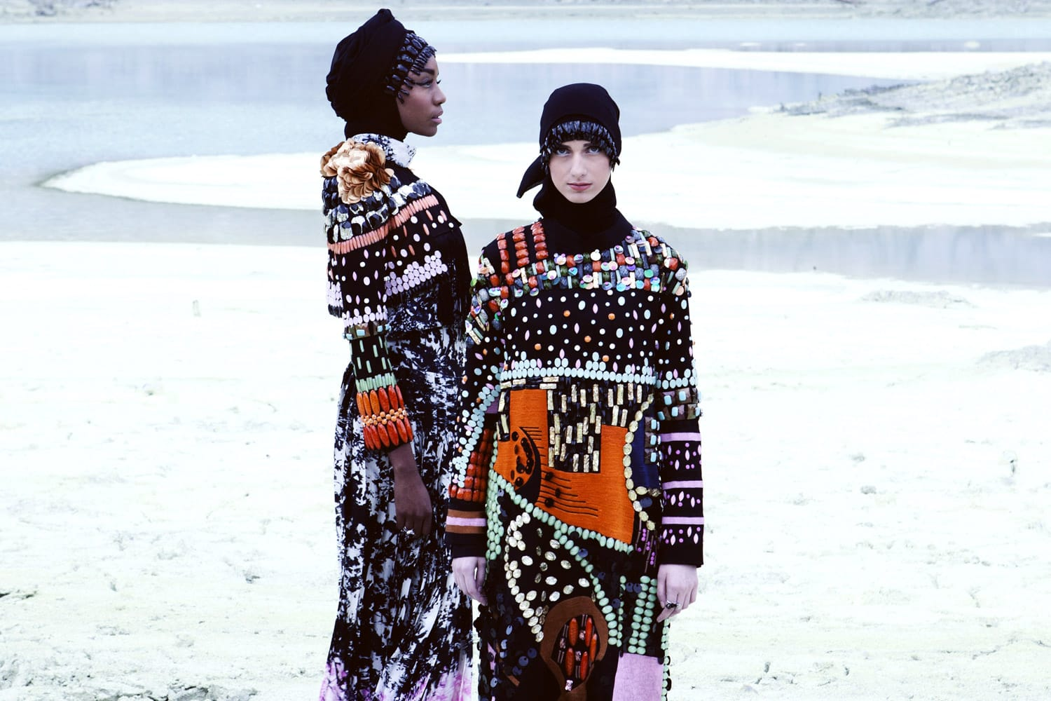 Models wearing the Dian Pelangi modest fashion collection 2016