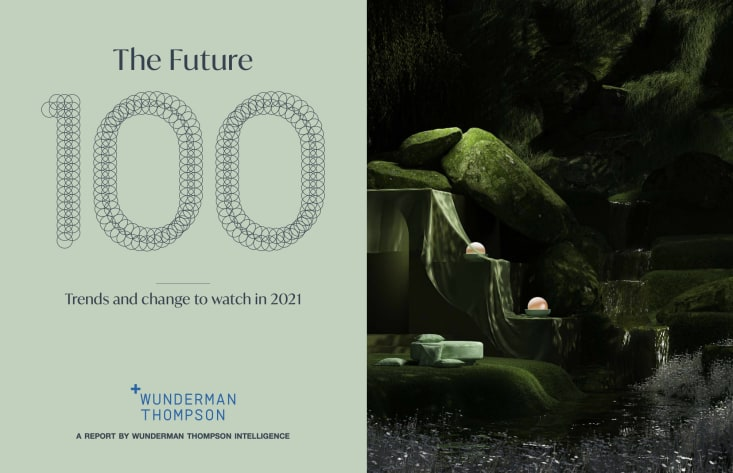 The Future 100 Report Front Page - green color scheme, outdoor futuristic landscape