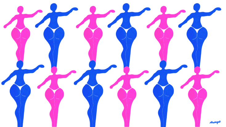 12 illustrated women in bikinis on landscape page in blue and pink.