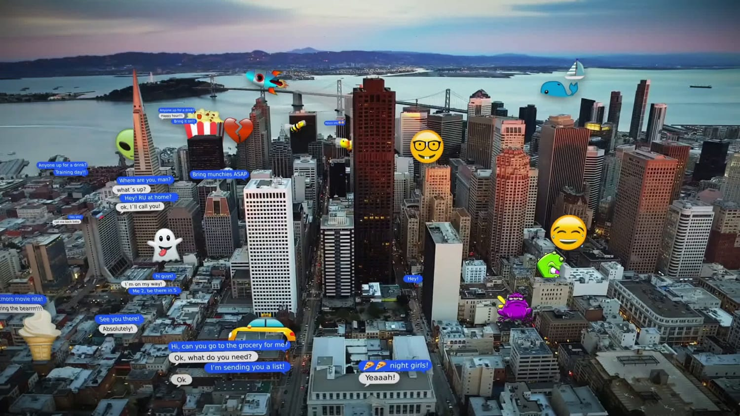 Scene of an animated city scape with various emojis and small bubble text strewn across.