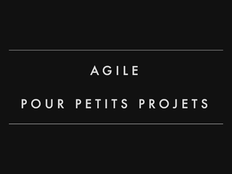 Agile pour petits projets - Kiwi Party 2016