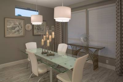 Silvercrest Kingsbrook, California - dining room, designer selected pendant lighting