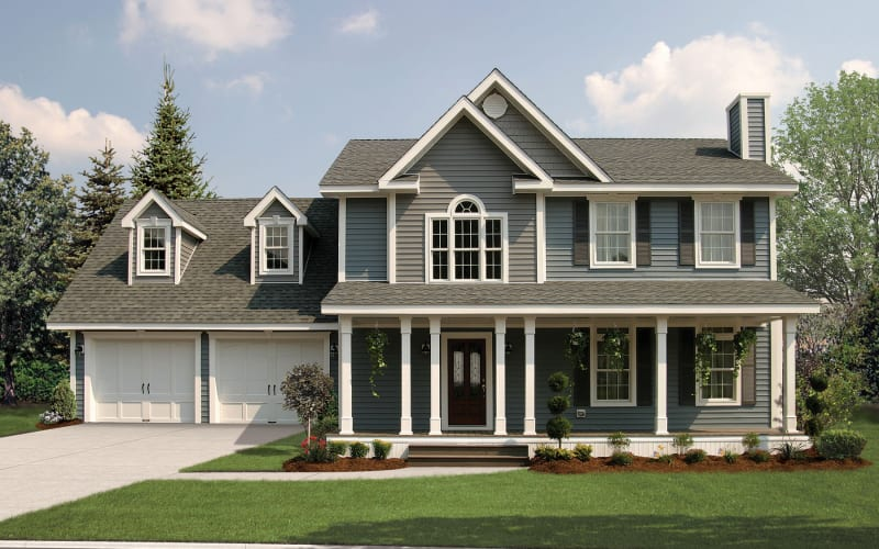 Bridgewater Two-Story Modular Home Elevation with2-Car Garage