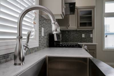 Silvercrest Craftsman, California - kitchen stainless steel sink, gooseneck faucet