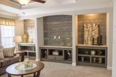 Built-in entertainment center with wood accent