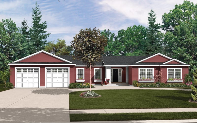 Titan Model 813 Modular Ranch Elevation with 2 Car Garage