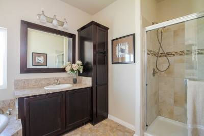 Bradford master bath vanity and shower
