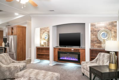 Cimarron 3264R living room with fireplace option