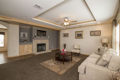 Brazos XL living room with fireplace