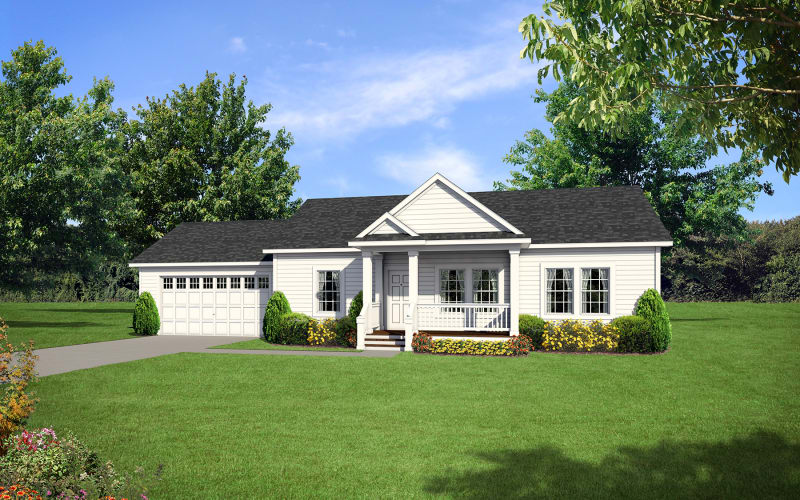 Barclay 4201 Optional Elevation with Site-built Two Car Garage and Porch