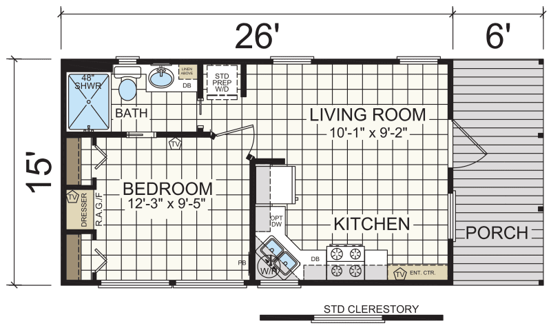 Floor Plan. Model 601   Athens Park Model RVs   Champion Homes