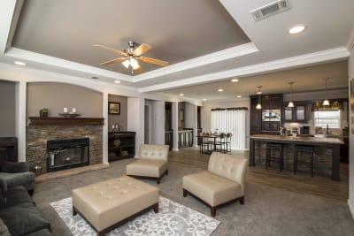 Hillcrest IV living room, dining room and kitchen