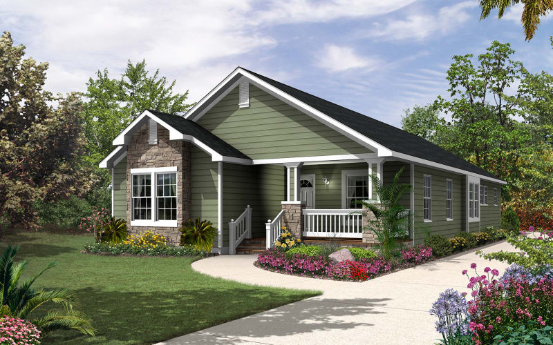 Dawson modular ranch elevation with optional accents