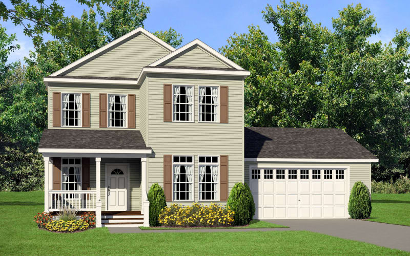 Estate Modular A94080 Exterior Elevation with Two-Car Garage