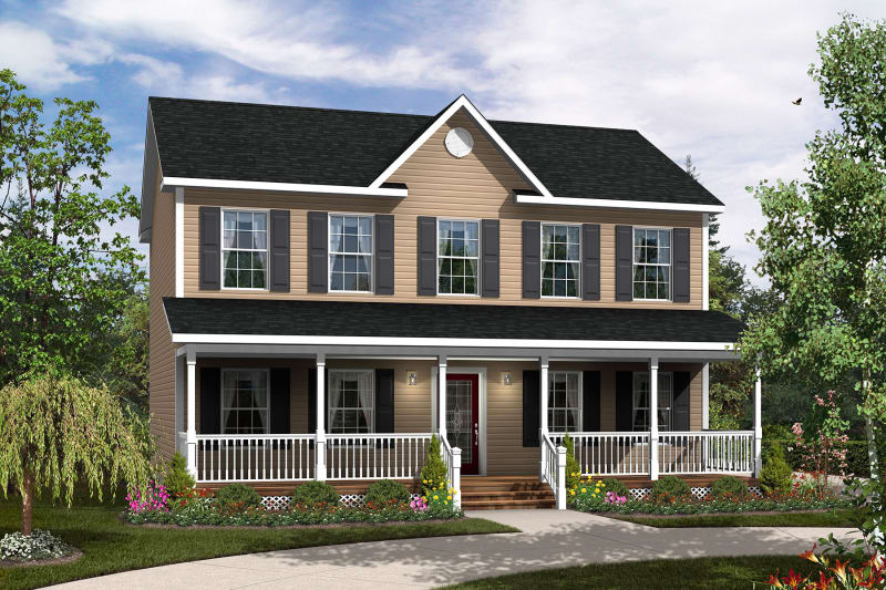 The Ferguson Two-Story Modular Home Elevation with Full Porch