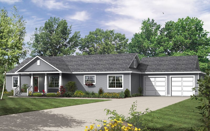 The Richland Modular Ranch Elevation with Covered Gable Porch