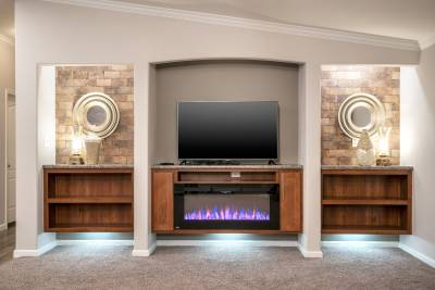 Entertainment center, fireplace