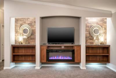 Entertainment center, fireplace