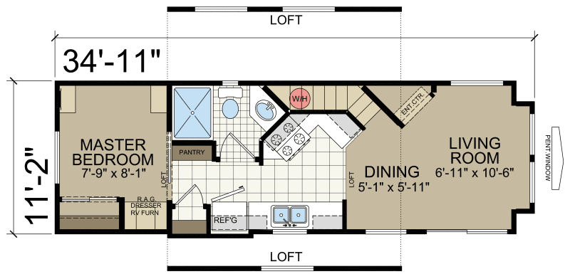 Park model rv 509 loft athens park model rvs champion for Rv park blueprints