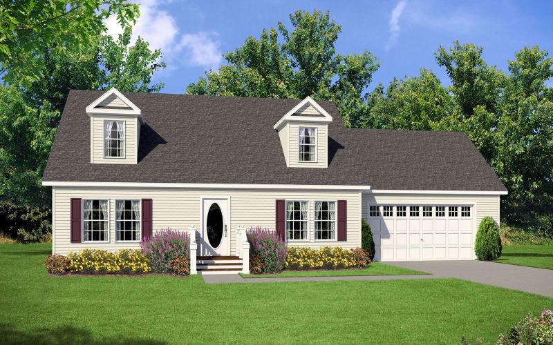 Estate Modular A93678 Exterior Elevation with Dog House Dormers
