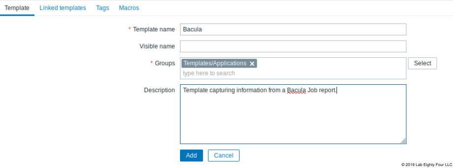 Template creation page. The page contains text fields and a selection field with Add and cancel buttons at the end of the page. Starting with Template name, Visible name Groups and Description. You are required to write a template name and select a group from a popup box that is triggered when you press the select button on the right of the text field.