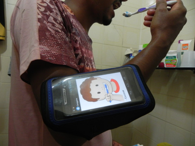 Young using the application in activity of daily life