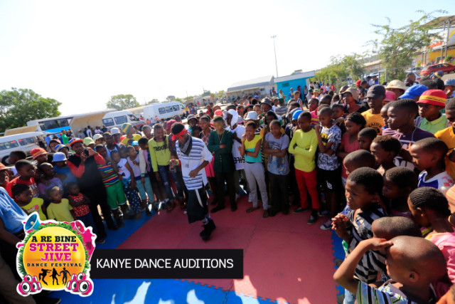 A re Bine Street Jive explores the concept of dancing in open areas, where everyone can take part either by auditioning or by being in the audience.  Street Jive Audition in Kanye a village in Southern District.