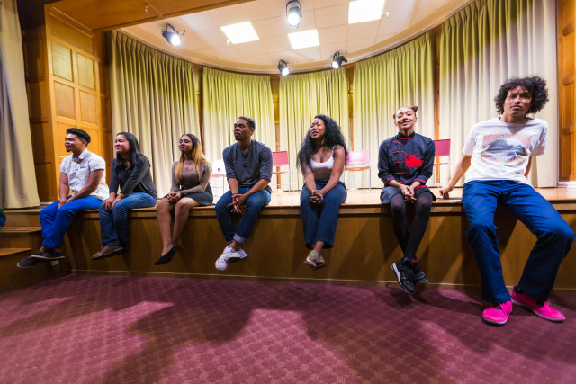 The cast engages in a deep discussion with the audience during a post-performance Q&A session at Stanford University