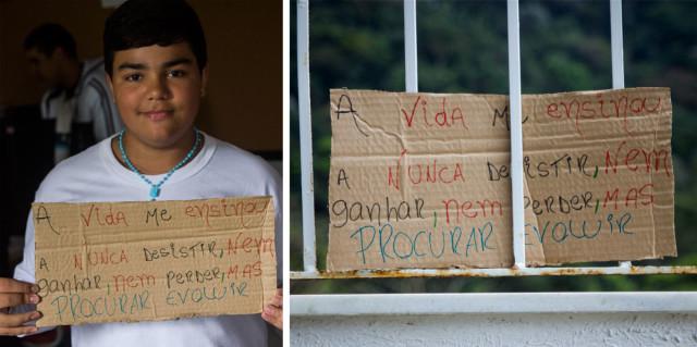 Resultado da #OficinaLixoFeliz realizada na Escola Municipal André Urani, na Comunidade da Rocinha.