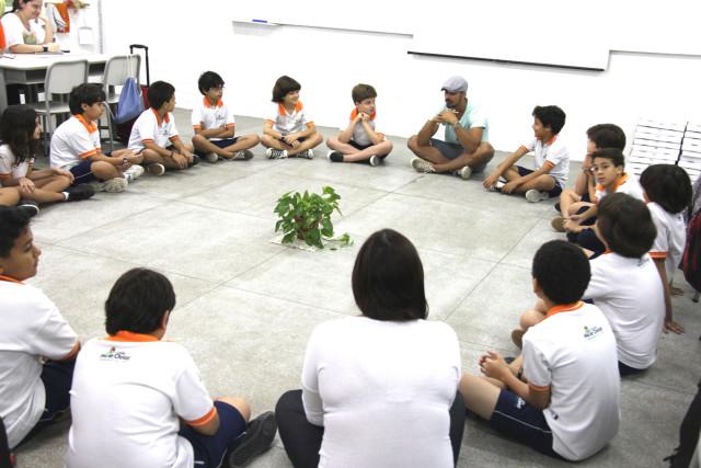 Bate-papo sobre Sustentabilidade com as crianças da Escola Mather Christ