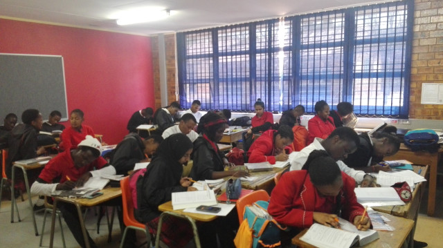 Dream Big Career Expos giving motivational talk in Laudium in preparation for final exams and talks about career choices.