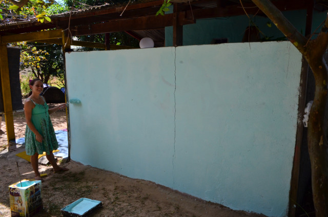 Preparação de fundo para pintura mural na casa da D. Ursula. Vila de São Jorge. GO. 2014
