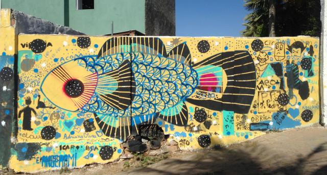 Mural coletivo pintado com crianças em Milagres, CE, durante expedicão em parceria com a ONG S.A.S. 2015