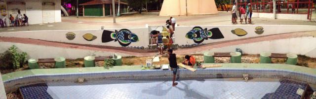 Pinturas e mosaicos em Cumbuco, CE, realizados em parceria com a ONG Acupuntura Urbana e com a fellow Redbull Estefania Rosa. 2015