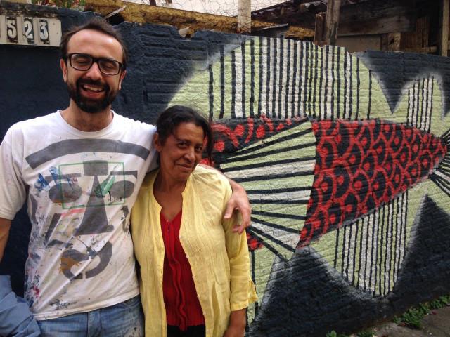 Dona Tereza e seu novo um mural. São Paulo, SP. 2016