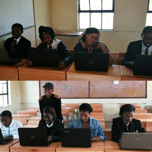 young People of the Madantsane Community being trained on computer literacy skills by one of the mentors
