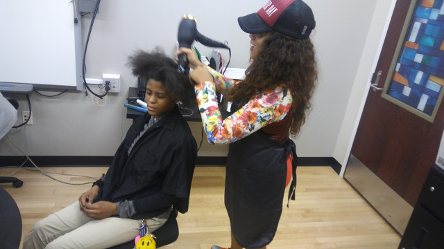 servicing 6,7 and 8th graders by offering them basic hair care services to improve their self-esteem and their appearance