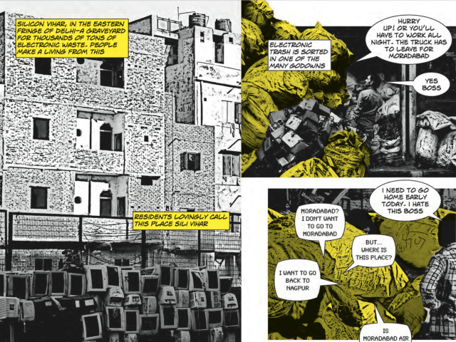 The opening spread of the EWASTE comic book
