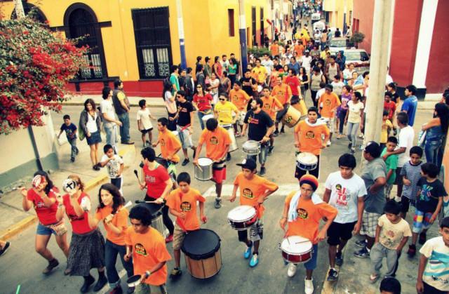 Our Batucada walking through the streets of Alto Peru