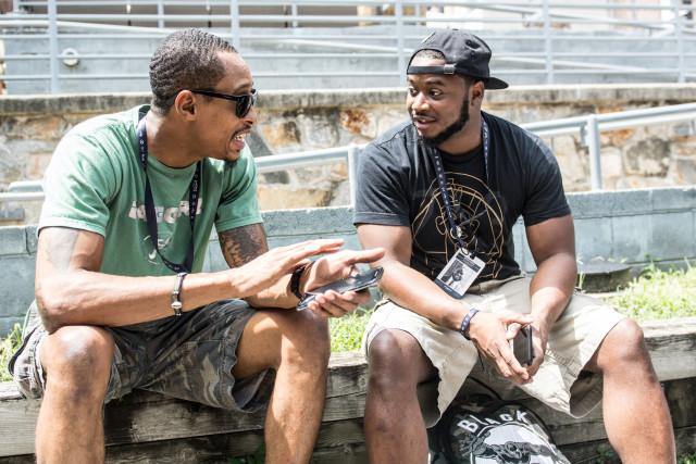 Muhammad Najeeullah and Matthew Kincaid interact during a break at Red Bull Amaphiko in Baltimore
