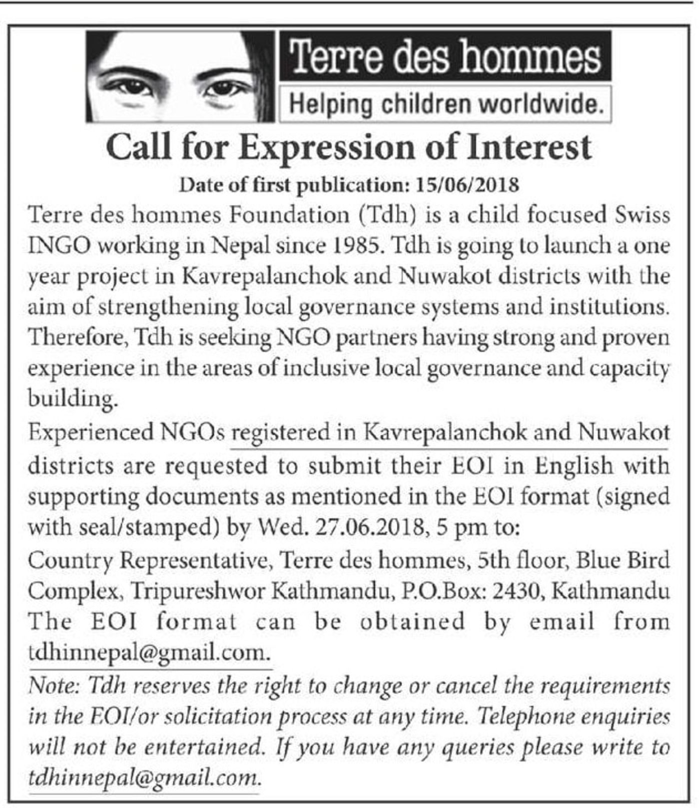Bids and Tenders Nepal - EOI - NGOs working in the areas of