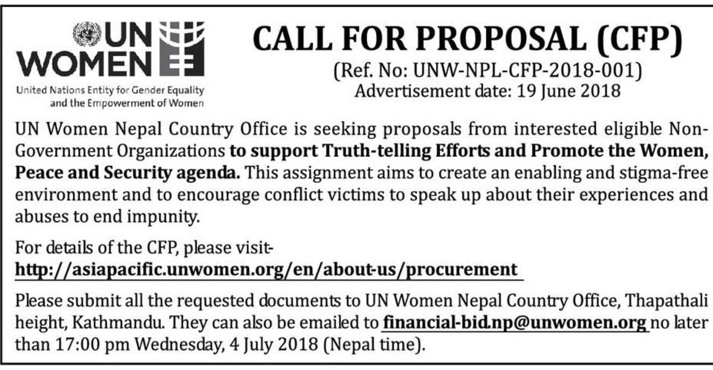 Bids and Tenders Nepal - Call For Proposal - NGO to Support Truth