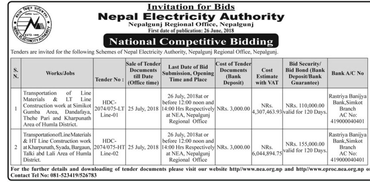 bids and tenders nepal transportation of line materials lt line