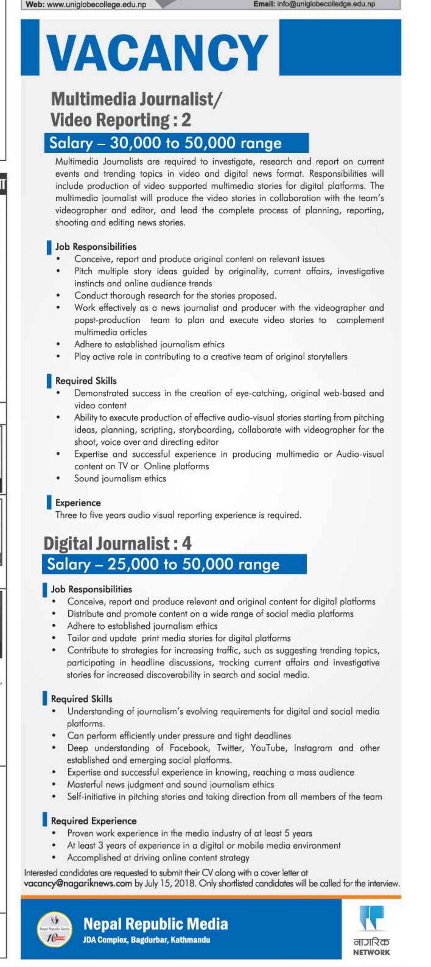 Jobs Nepal - Vacancy - Multimedia Journalist/ Video Reporting (2