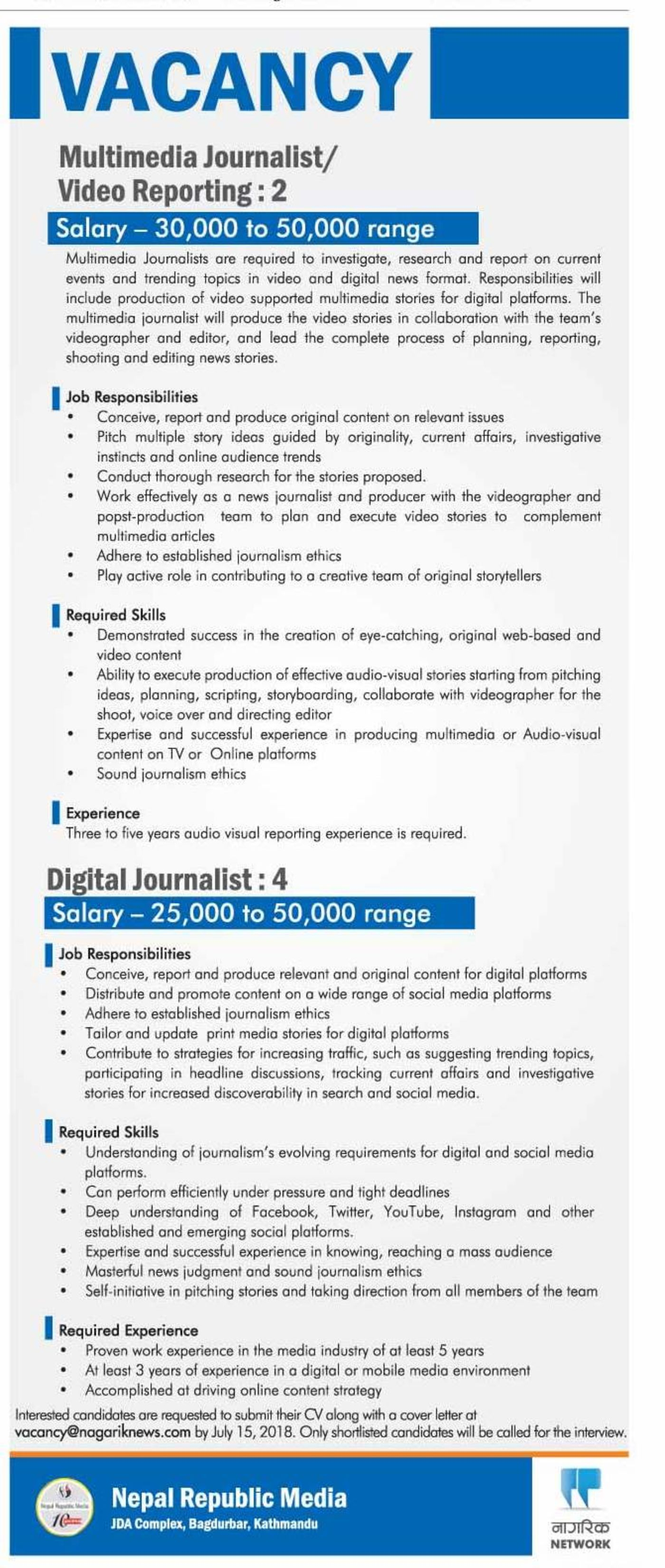 Jobs Nepal - Vacancy - Multimedia Journalist/ Video